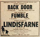Advert Fumble and Lindisfarne