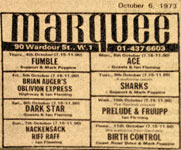 Fumble, Marquee Club, October 1973